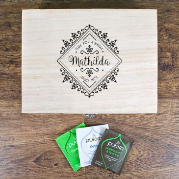 Time For a Break! Blooming Beautiful Personalised Wooden Tea Box